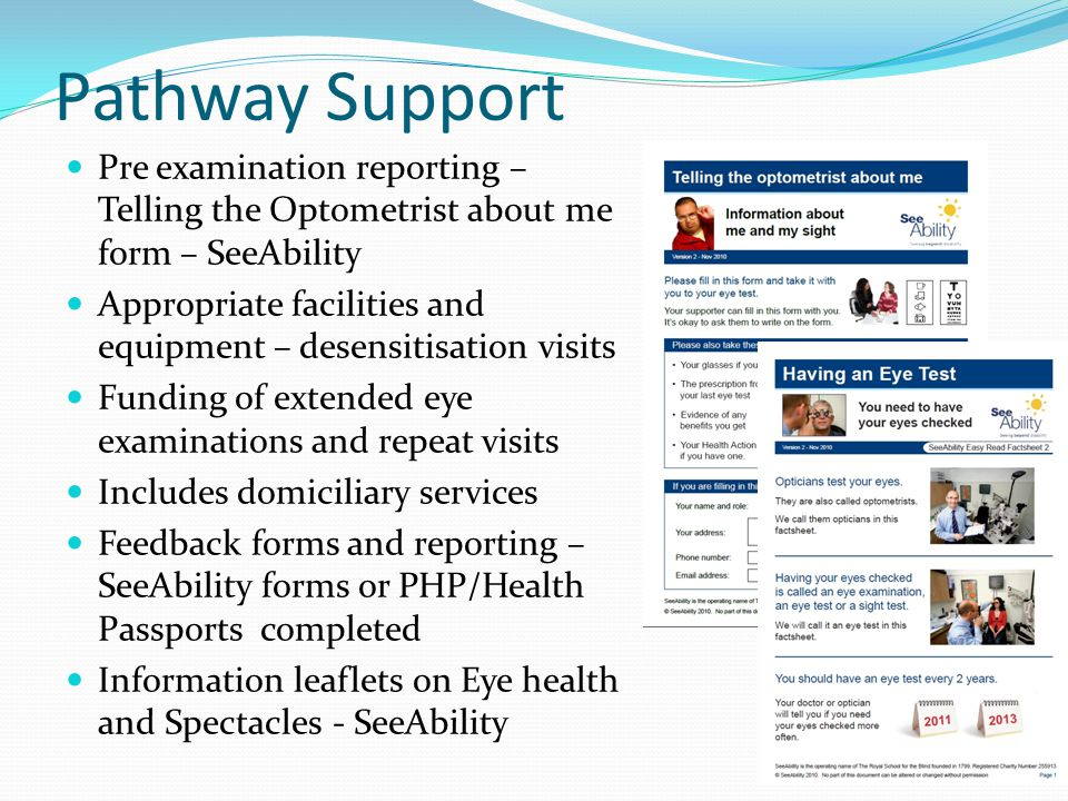 Pathway Support Pre examination reporting – Telling the Optometrist about me form – SeeAbility.