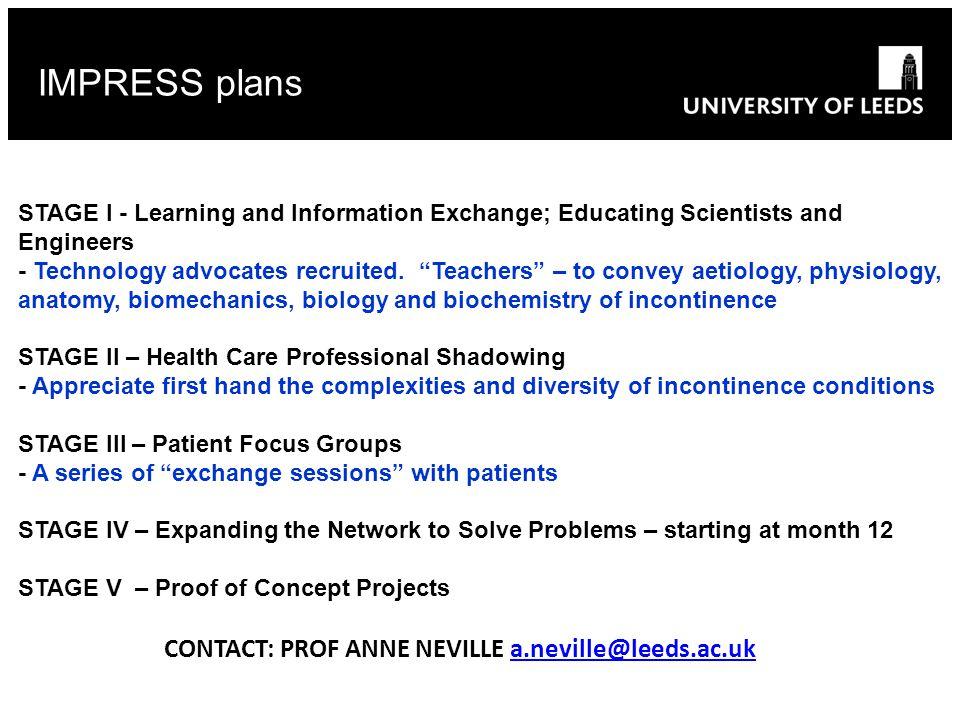IMPRESS plans CONTACT: PROF ANNE NEVILLE a.neville@leeds.ac.uk
