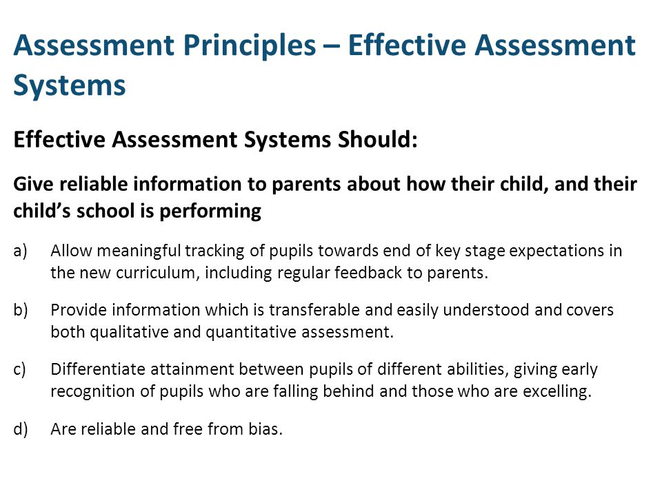 Assessment Principles – Effective Assessment Systems