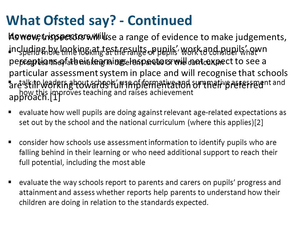 What Ofsted say - Continued