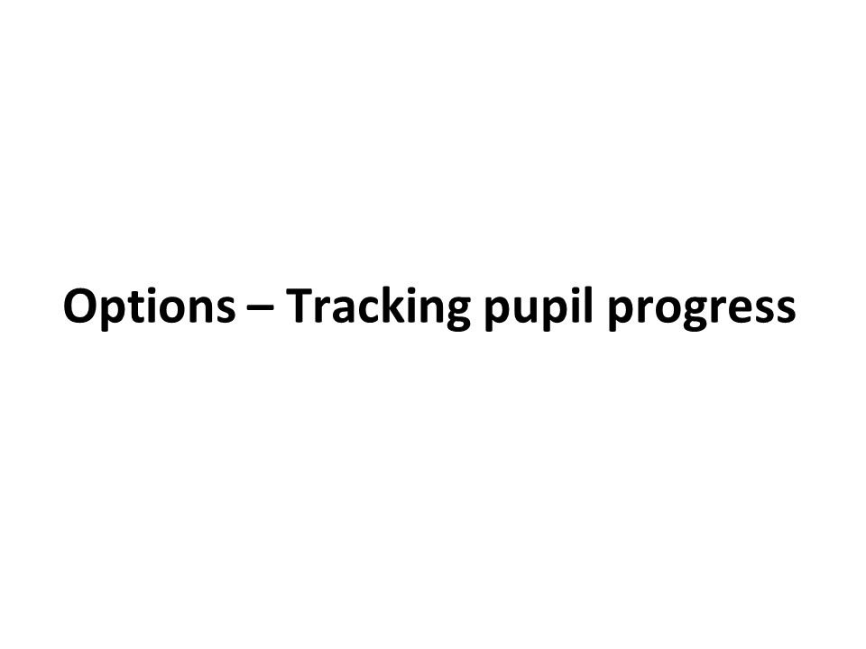 Options – Tracking pupil progress