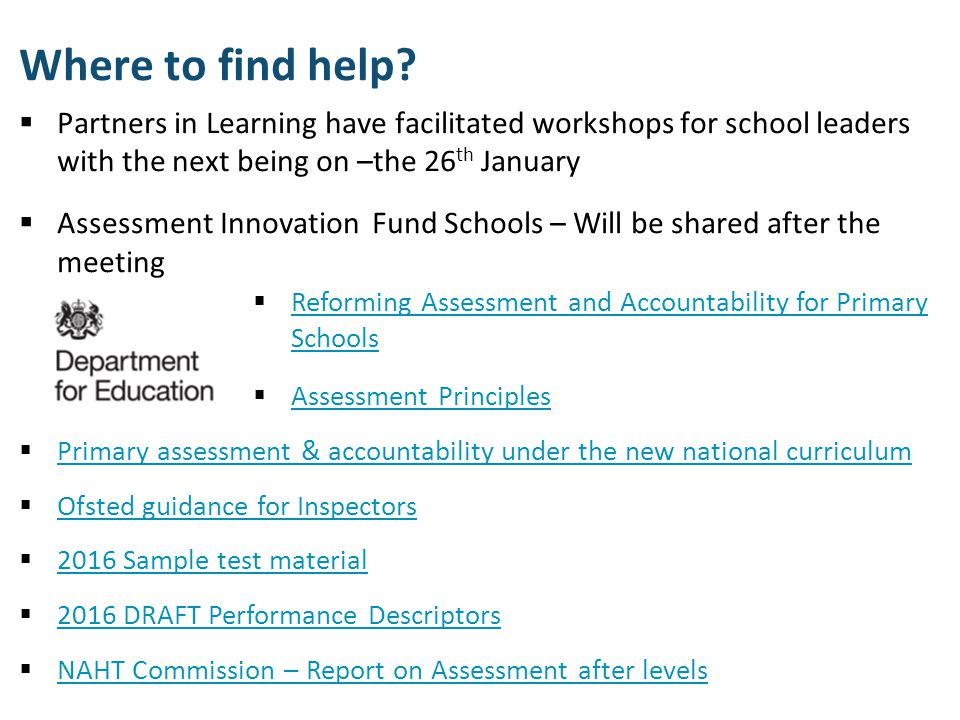 Where to find help Partners in Learning have facilitated workshops for school leaders with the next being on –the 26th January.