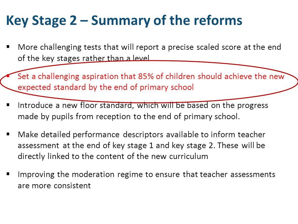 Key Stage 2 – Summary of the reforms