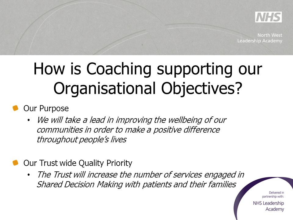 How is Coaching supporting our Organisational Objectives