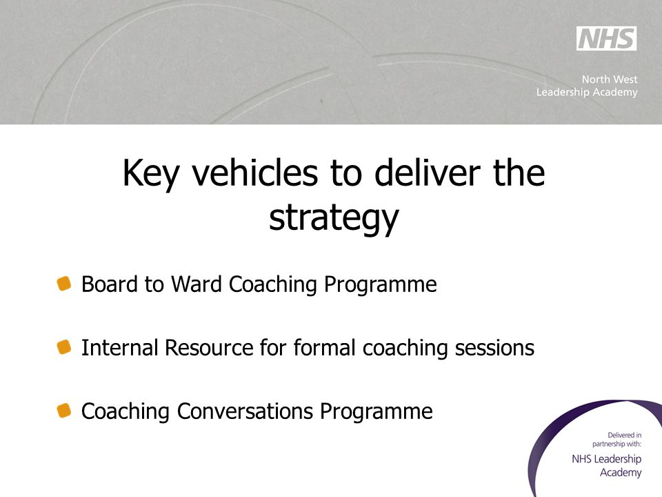 Key vehicles to deliver the strategy