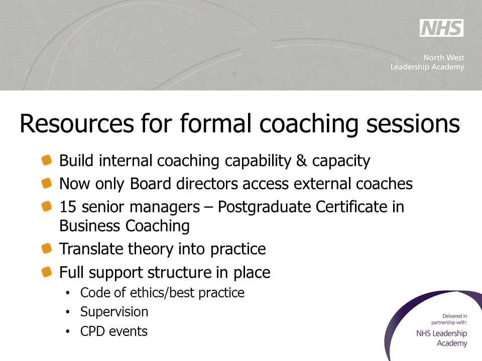 Resources for formal coaching sessions