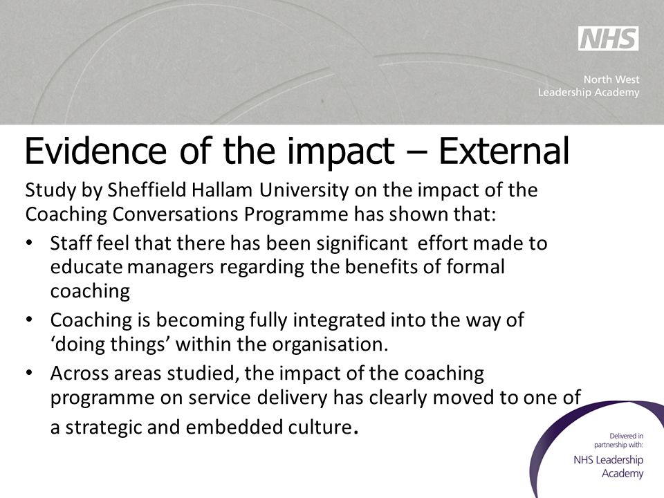 Evidence of the impact – External