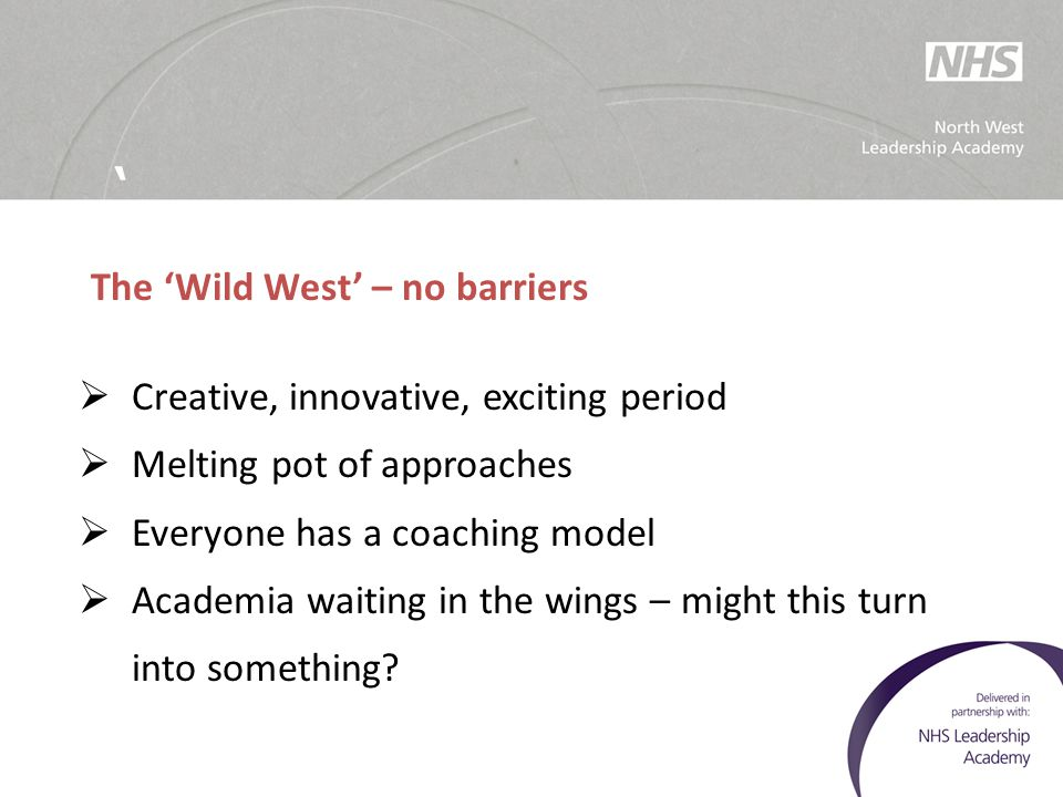 ' The 'Wild West' – no barriers. Creative, innovative, exciting period. Melting pot of approaches.