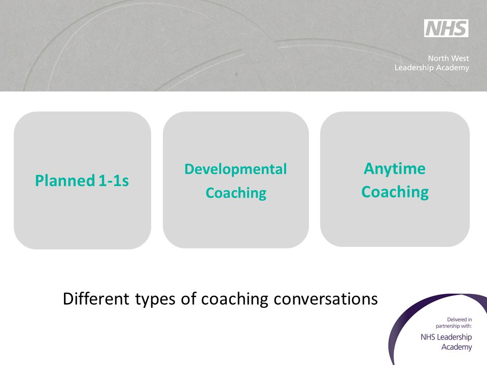 Different types of coaching conversations