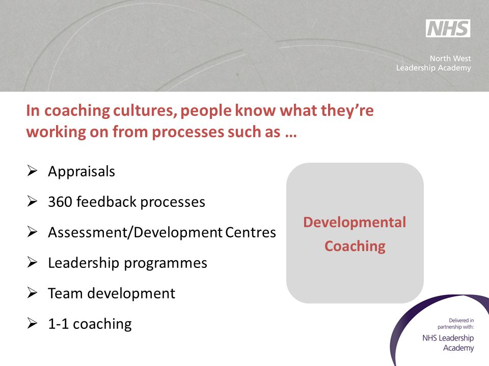 In coaching cultures, people know what they're working on from processes such as …