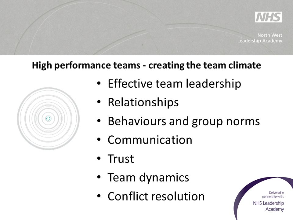 High performance teams - creating the team climate