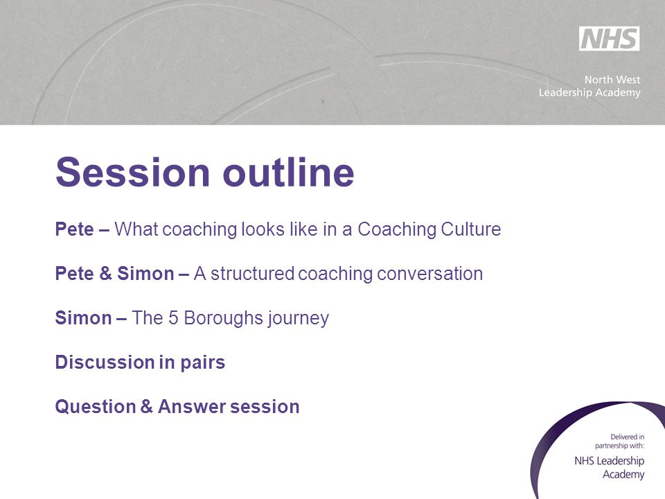 Session outline Pete – What coaching looks like in a Coaching Culture
