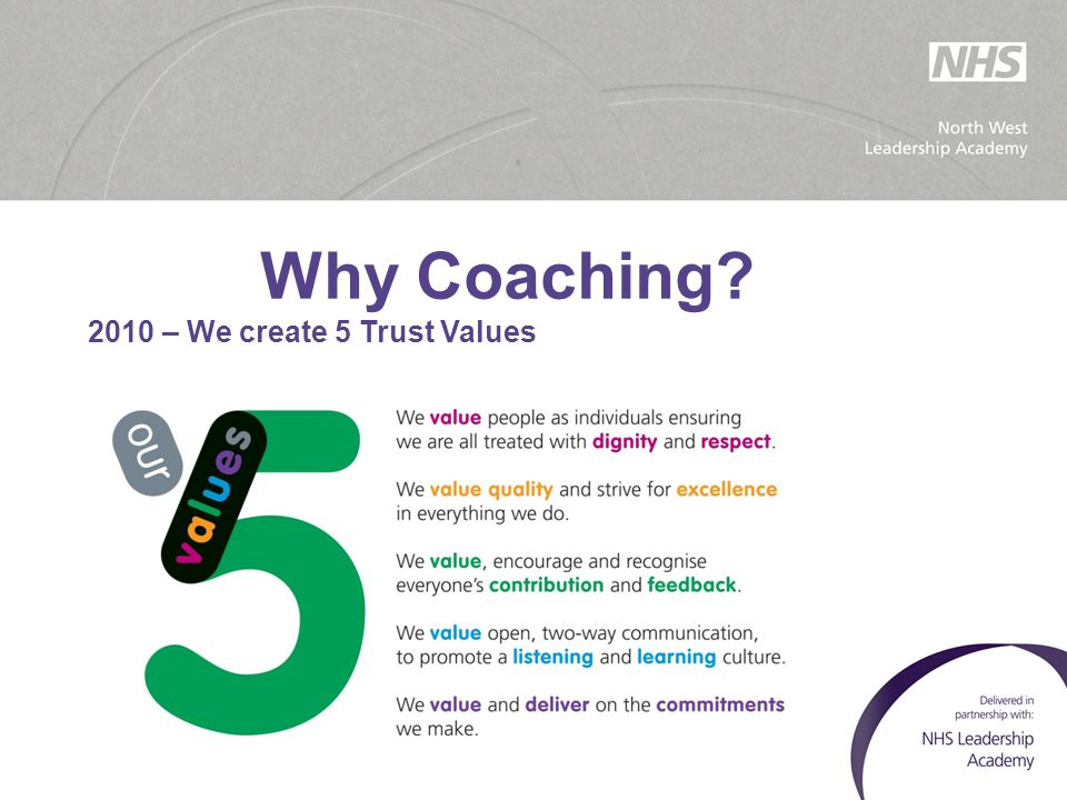 Why Coaching 2010 – We create 5 Trust Values
