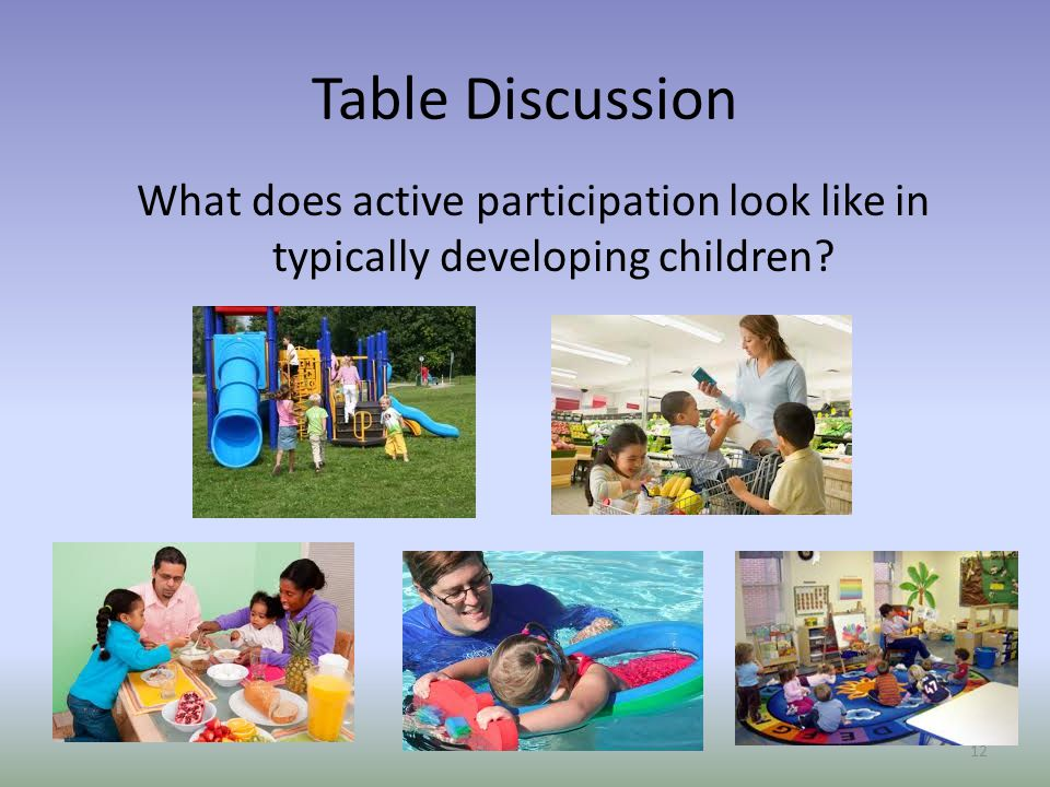 Table Discussion What does active participation look like in typically developing children Ruth.