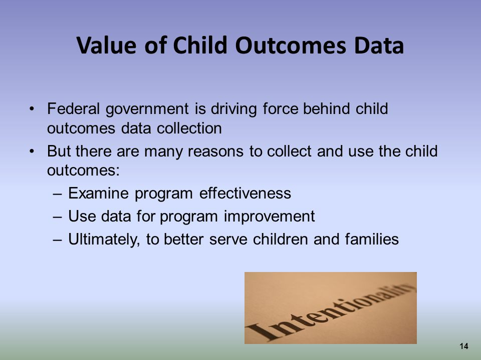 Value of Child Outcomes Data
