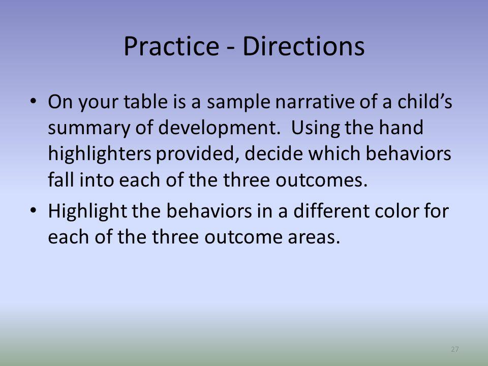 Practice - Directions