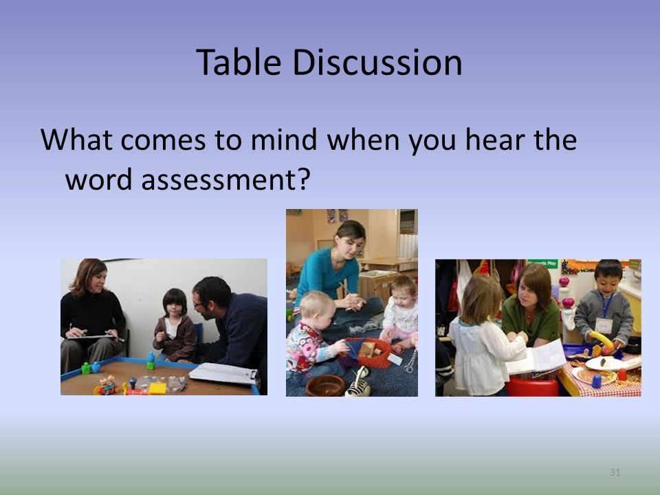 Table Discussion What comes to mind when you hear the word assessment