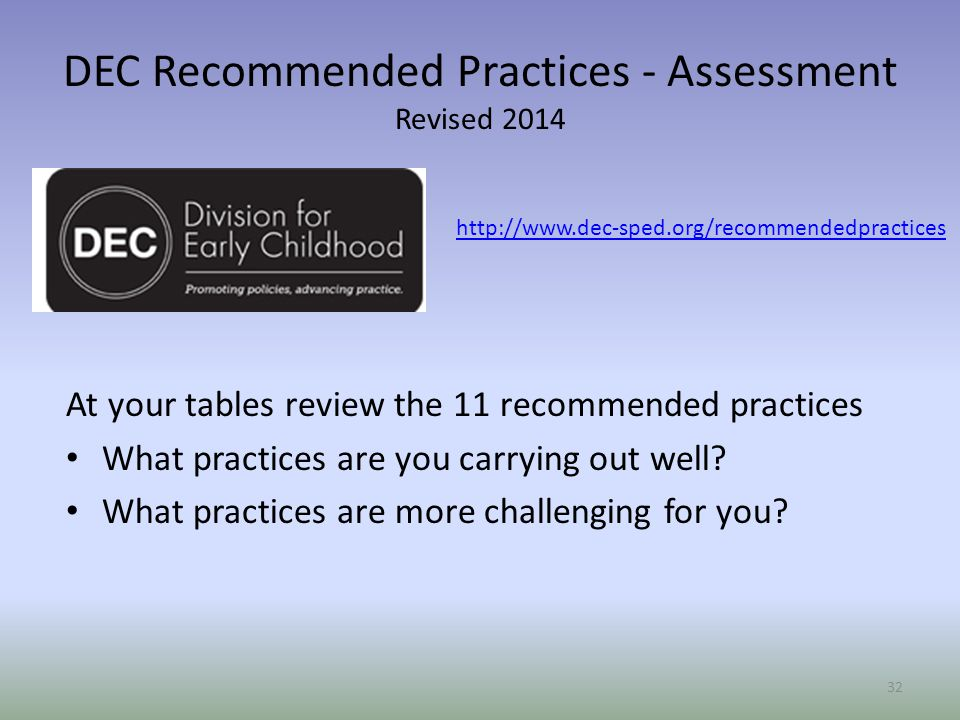 DEC Recommended Practices - Assessment Revised 2014