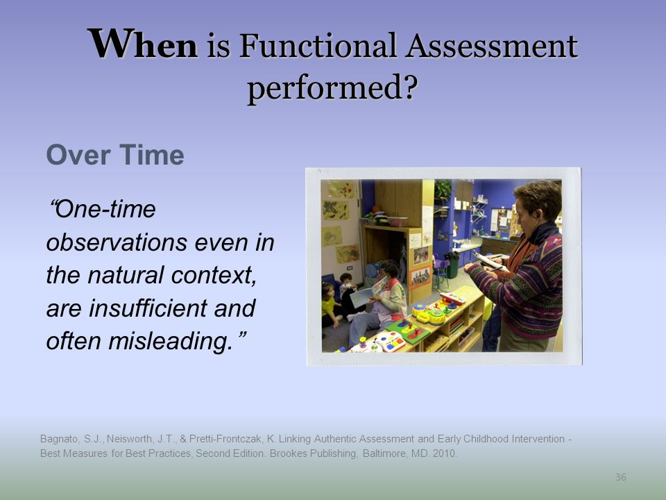 When is Functional Assessment performed