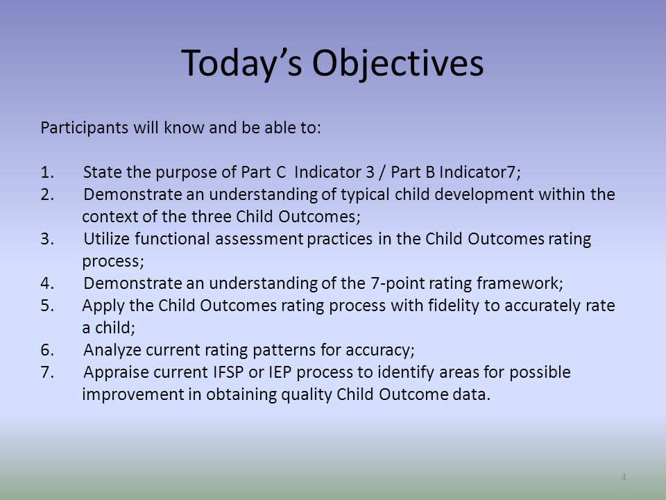 Today's Objectives Participants will know and be able to: