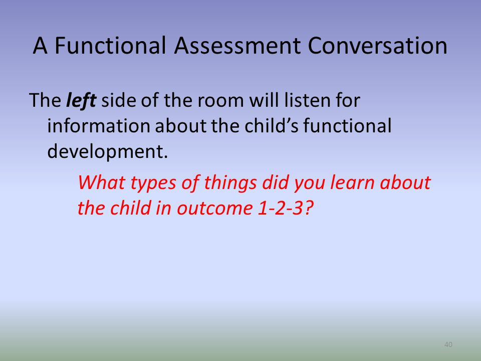 A Functional Assessment Conversation