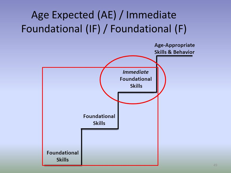 Age Expected (AE) / Immediate Foundational (IF) / Foundational (F)