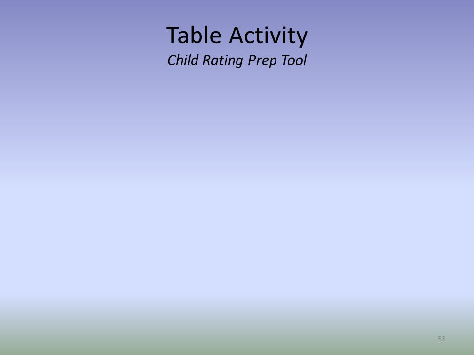 Table Activity Child Rating Prep Tool