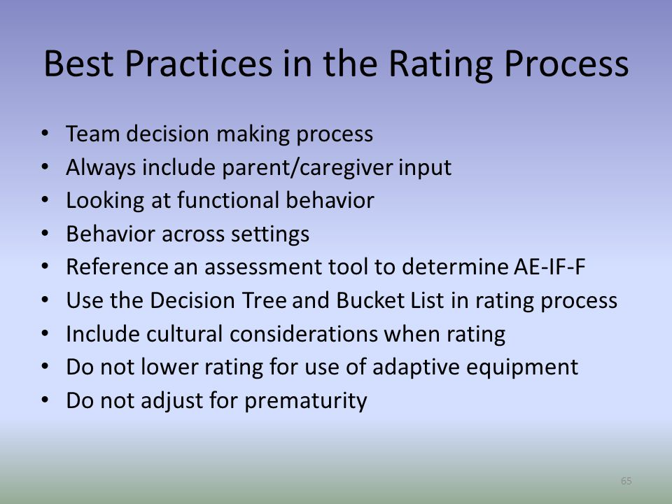 Best Practices in the Rating Process
