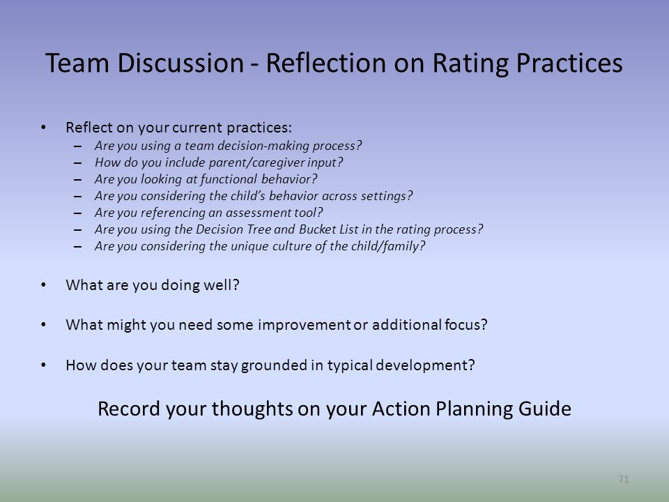 Team Discussion - Reflection on Rating Practices