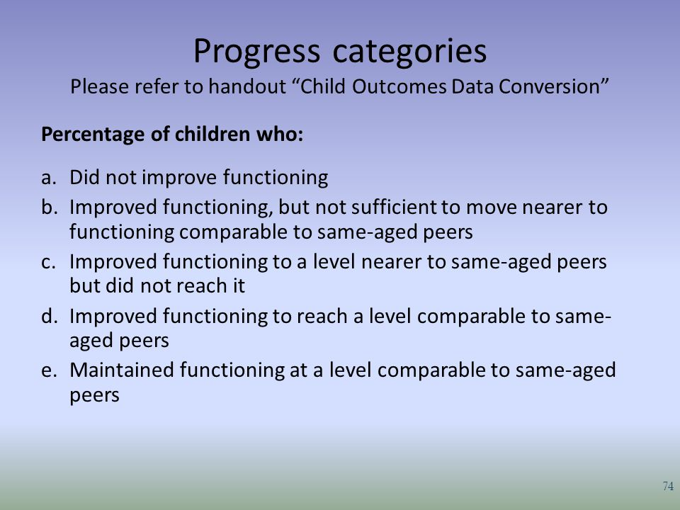 Progress categories Please refer to handout Child Outcomes Data Conversion