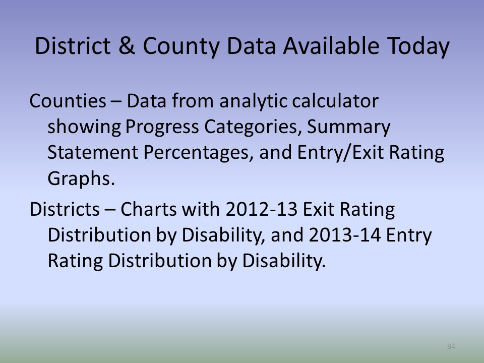 District & County Data Available Today