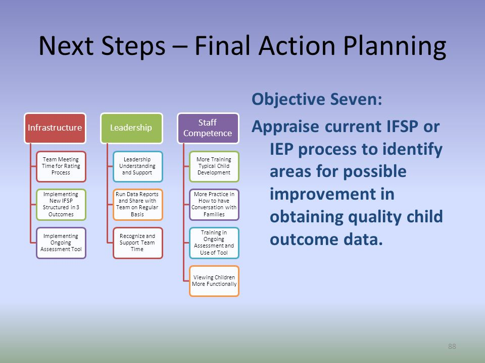 Next Steps – Final Action Planning