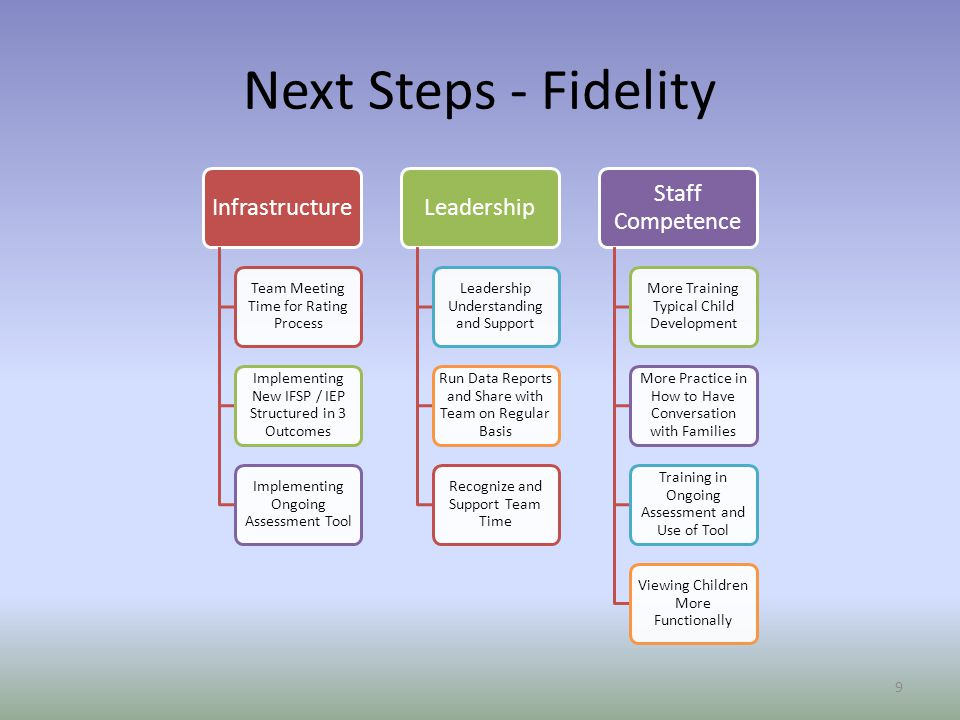 Next Steps - Fidelity Infrastructure Leadership Staff Competence