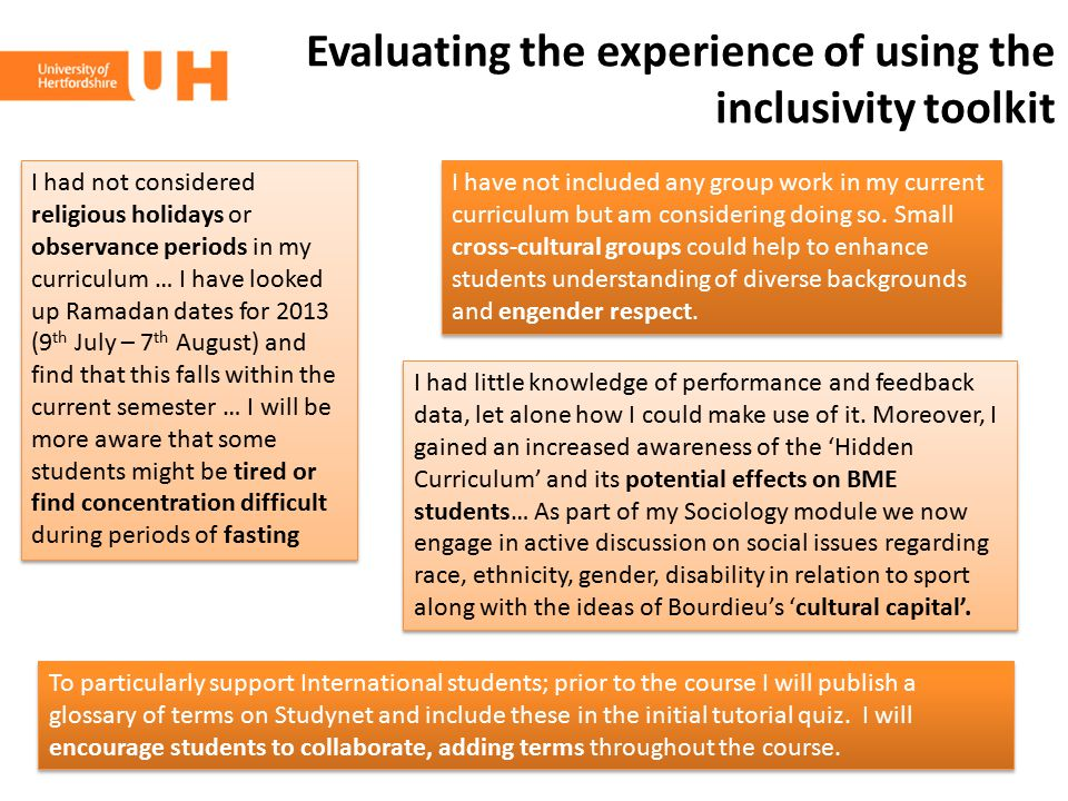 Evaluating the experience of using the inclusivity toolkit