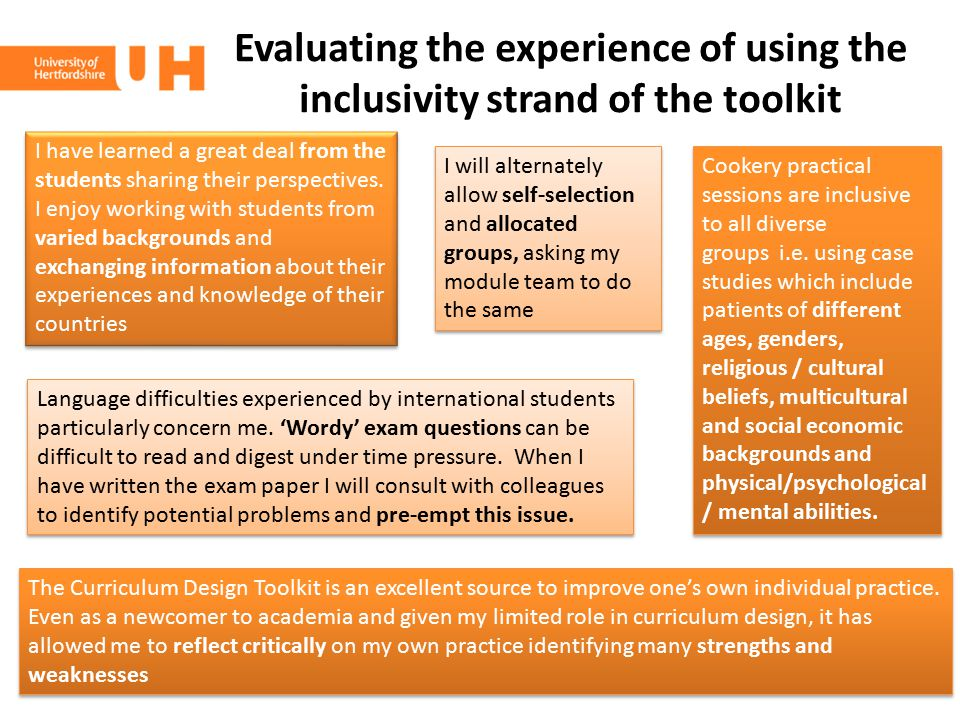 Evaluating the experience of using the inclusivity strand of the toolkit