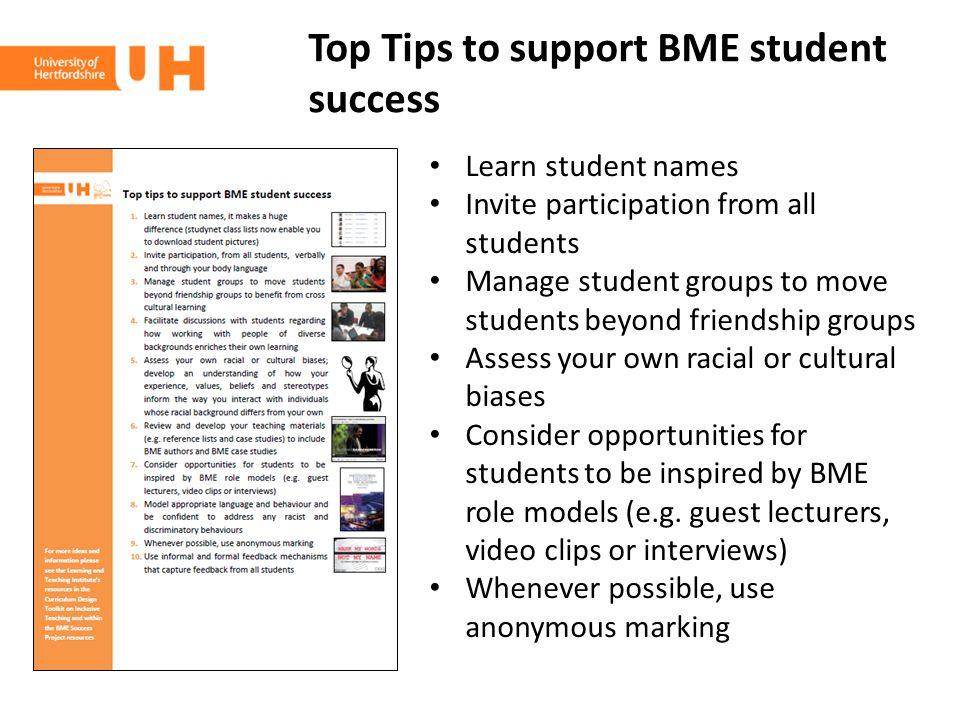 Top Tips to support BME student success