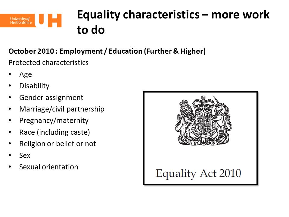 Equality characteristics – more work to do