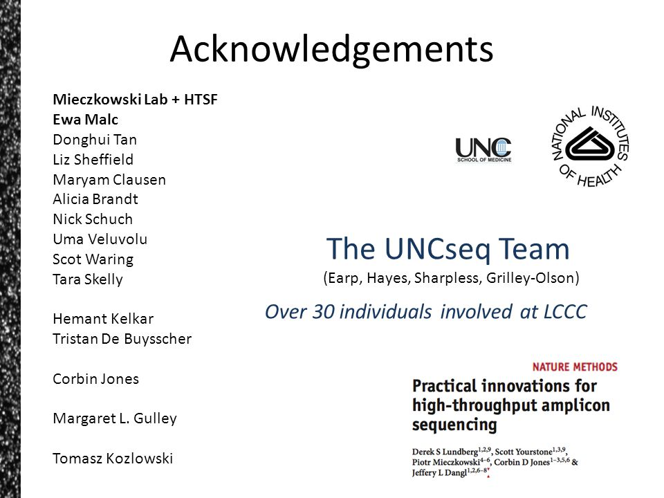 Acknowledgements The UNCseq Team Over 30 individuals involved at LCCC