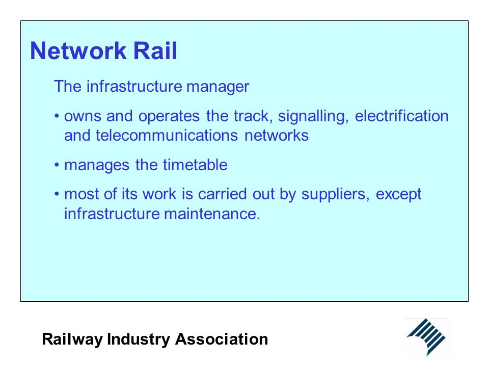 Network Rail The infrastructure manager