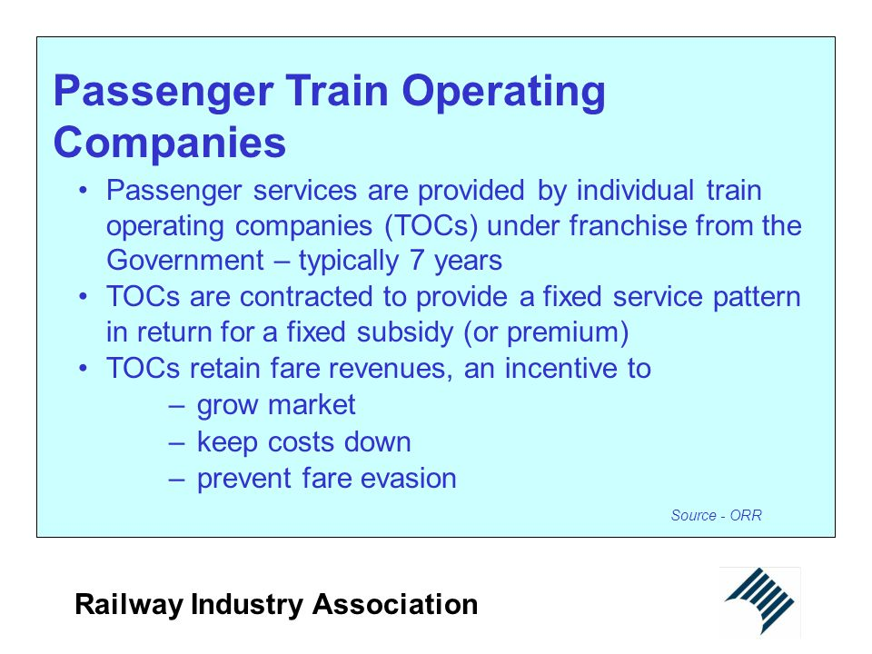 Passenger Train Operating Companies