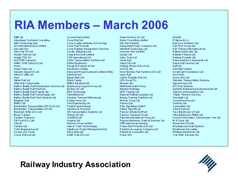 RIA Members – March 2006 Railway Industry Association