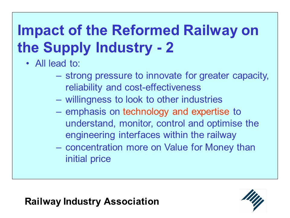 Impact of the Reformed Railway on the Supply Industry - 2