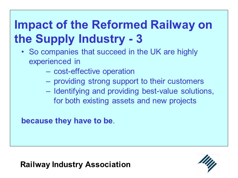 Impact of the Reformed Railway on the Supply Industry - 3