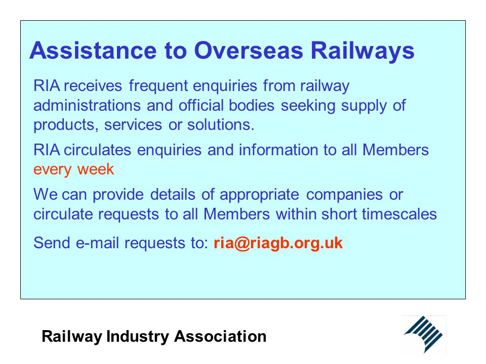 Assistance to Overseas Railways