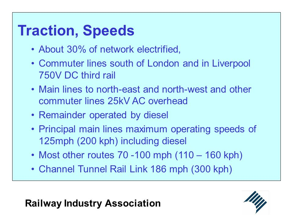 Traction, Speeds About 30% of network electrified,