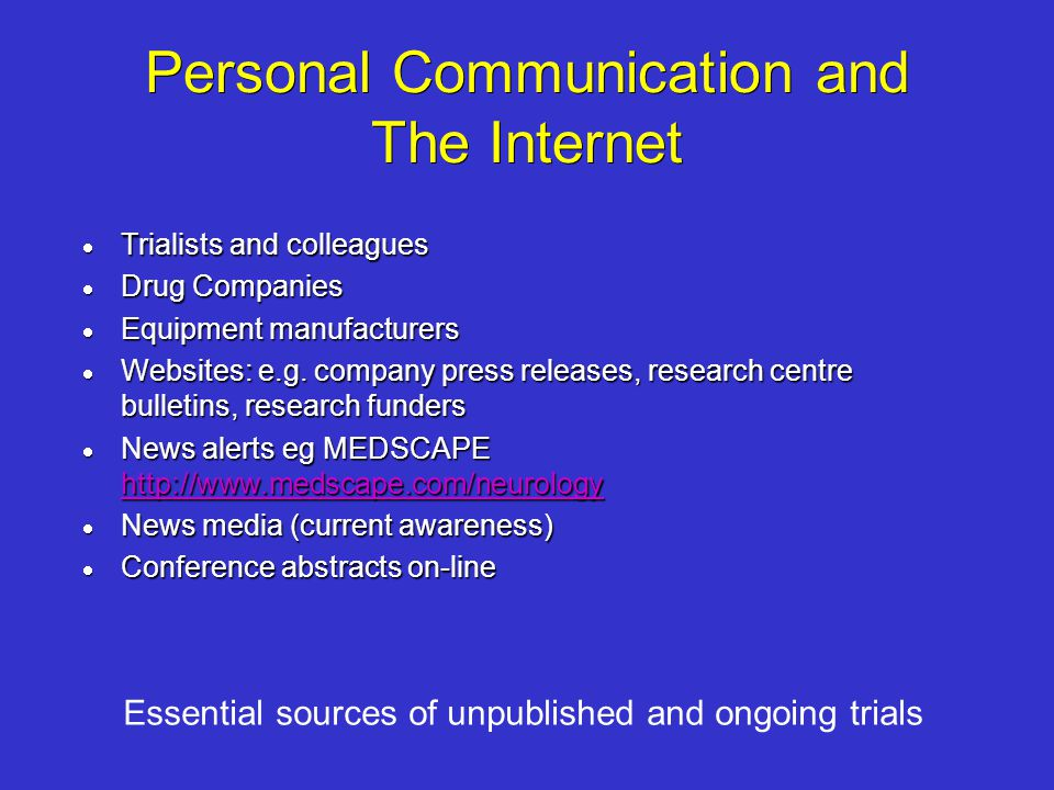 Personal Communication and The Internet