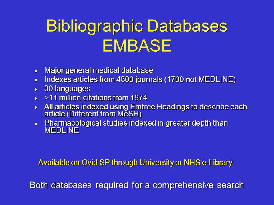 Bibliographic Databases EMBASE