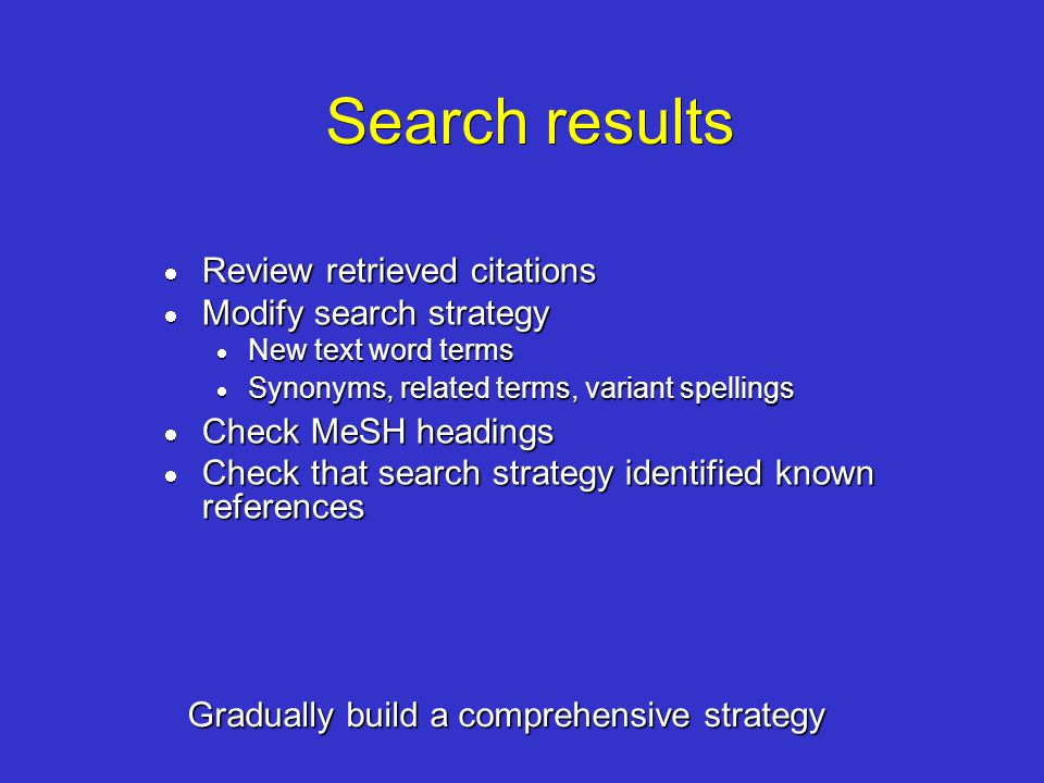 Search results Review retrieved citations Modify search strategy