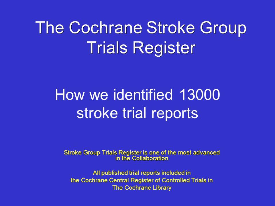 The Cochrane Stroke Group Trials Register