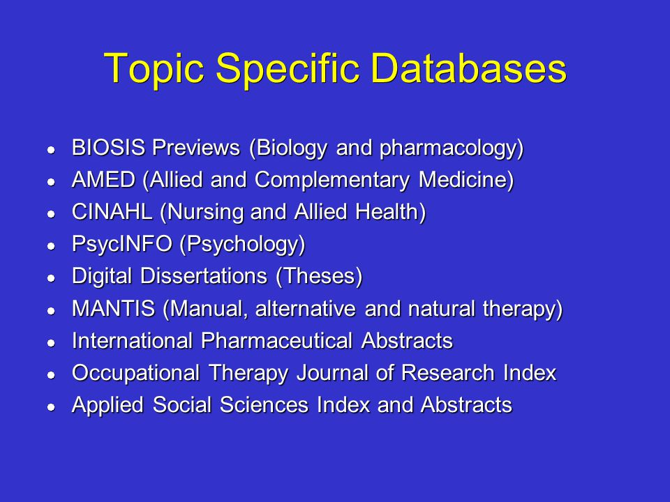 Topic Specific Databases